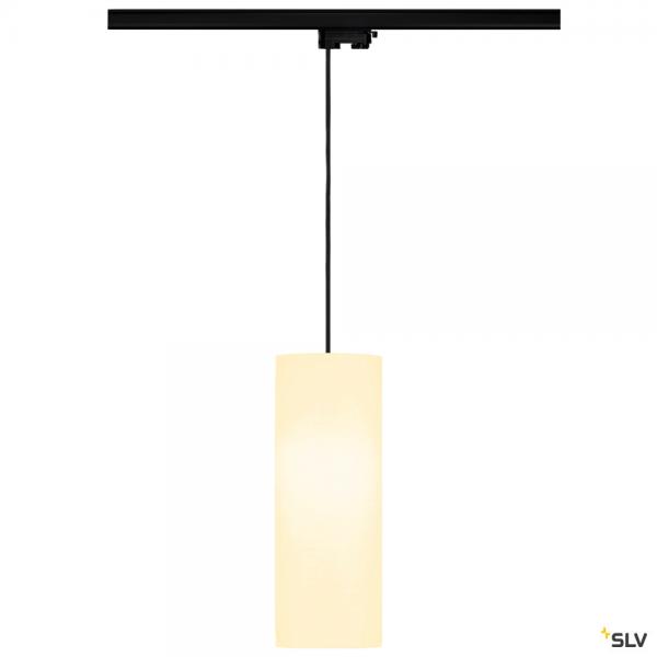 SLV 145990 + 132660 + 156141 Fenda, 3Phasen, Pendelleuchte, schwarz/weiß, Ø15cm, E27, max.60W