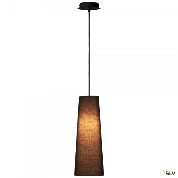 SLV 155560 + 156200 Fenda, Pendelleuchte, schwarz, Ø15cm, E27, max.60W