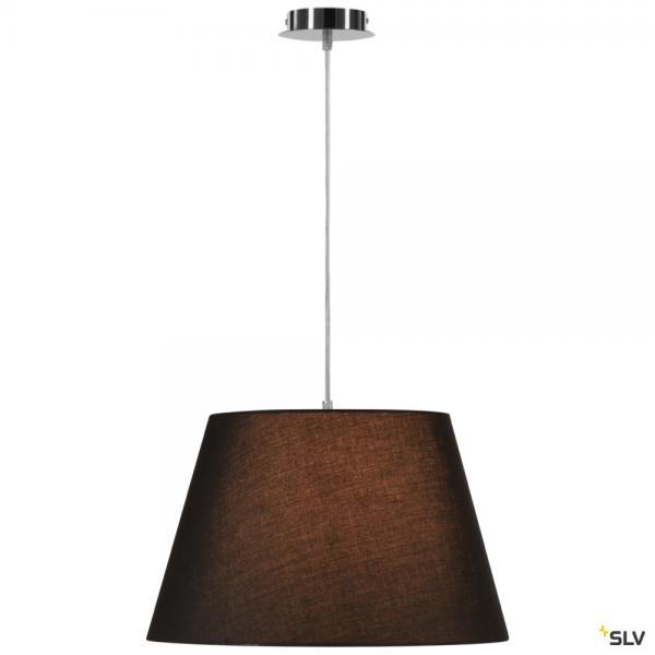 SLV 155562 + 156180 Fenda, Pendelleuchte, chrom/schwarz, Ø45,5cm, E27, max.60W