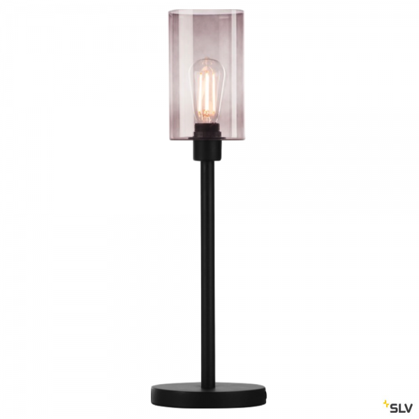 SLV 155780 + 1000773 Fenda, Tischleuchte, schwarz/rauchglas, Ø12,5cm, E27, max.40W