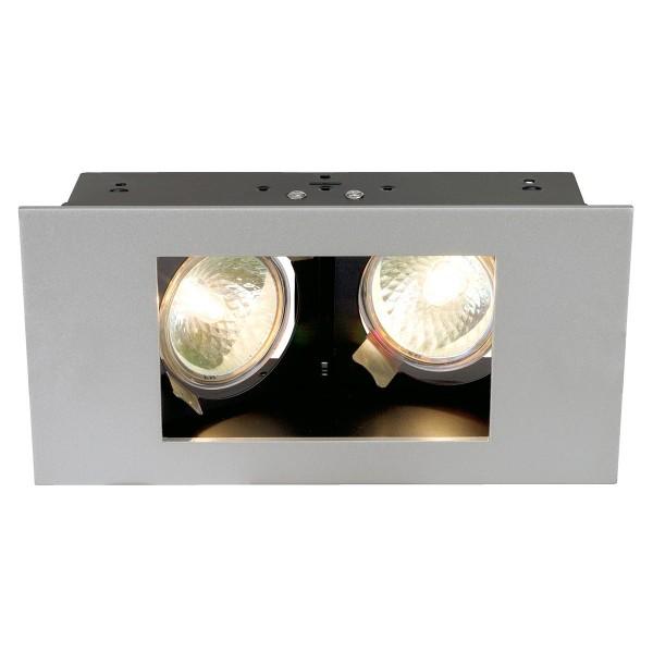SLV 112464 Indi Rec, Deckeneinbauleuchte, silbergrau/schwarz, GU5.3, max.2x50W