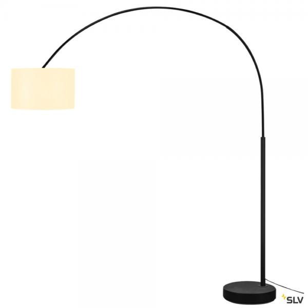 SLV 1003029 + 156111 Fenda Bow, Stehleuchte, schwarz/weiß, Ø45,5cm, E27, max.25W