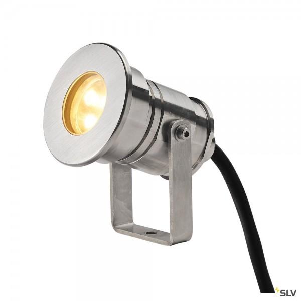 SLV 233571 Dasar Projector, Strahler, Edelstahl, mit Netzstecker, IP67, LED, 5,5W, 3000K, 300lm