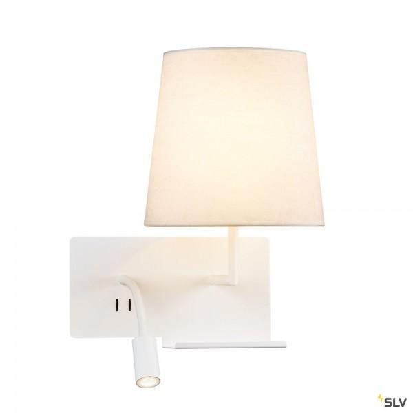 SLV 1003460 Somnila Flex, Wandleuchte, weiß, Schalter, rechts, E27 max.40W + LED, 3W, 3000K, 65lm