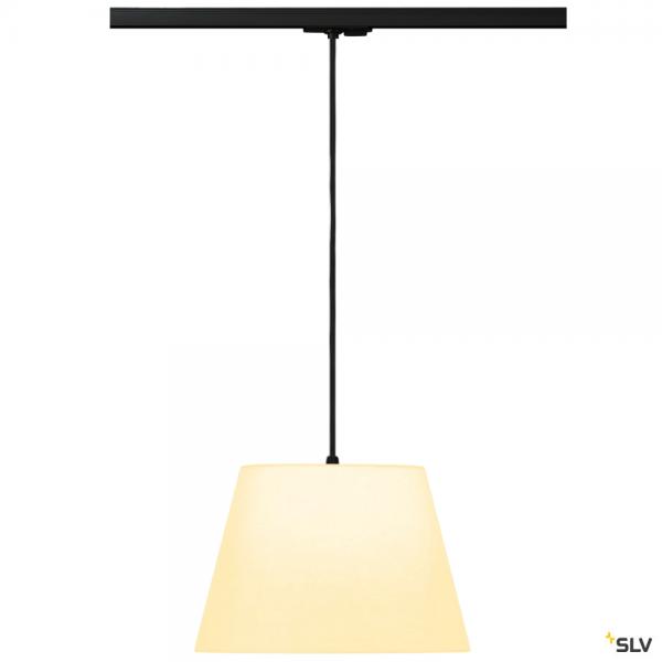 SLV 143120 + 132660 + 156161 Fenda, 1 Phasen, Pendelleuchte, schwarz/weiß, Ø30cm, E27, max.60W