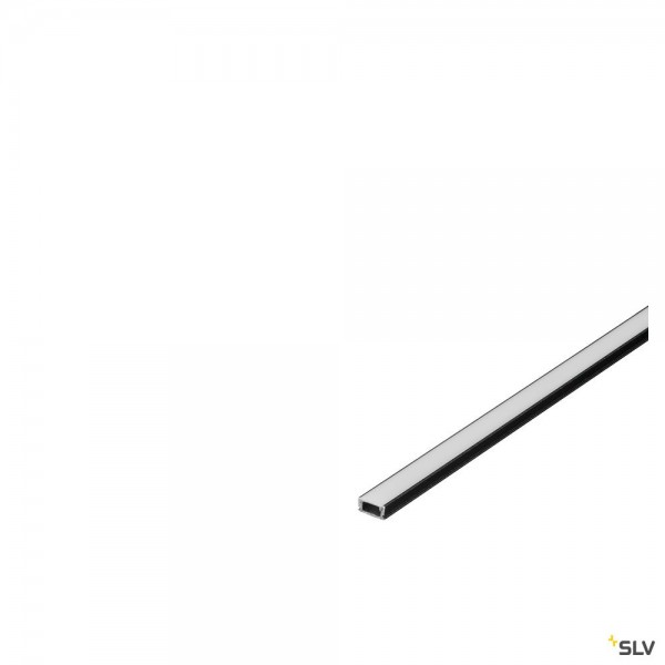 SLV 213950 Glenos 1107, Aufbauprofil, schwarz matt, B/H/L 1,1x0,6x200cm, LED Strips max.B.0,75cm