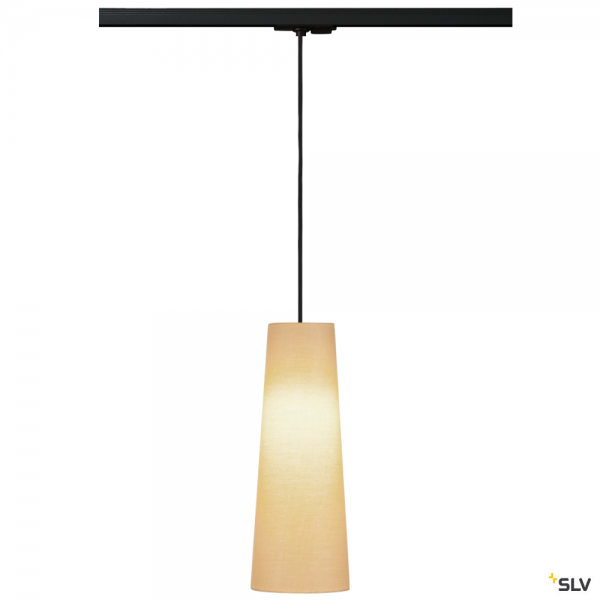 SLV 143120 + 132660 + 156203 Fenda, 1 Phasen, Pendelleuchte, schwarz/beige, Ø15cm, E27, max.60W
