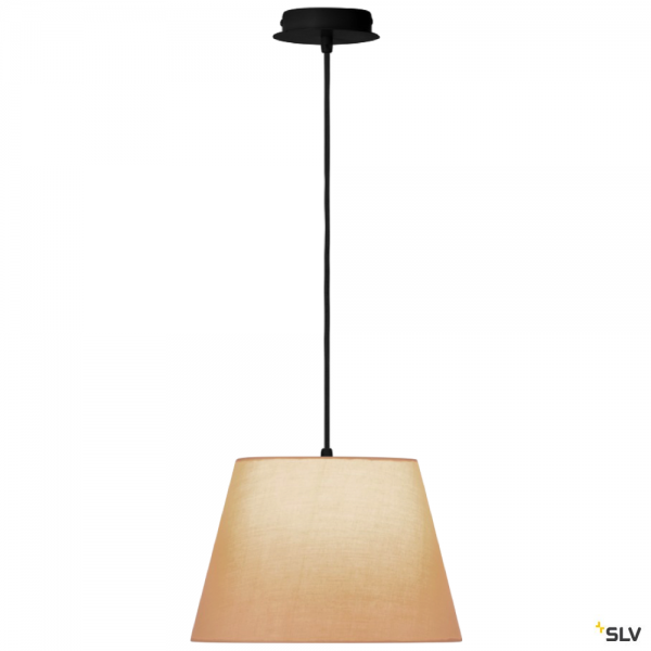 SLV 155560 + 156163 Fenda, Pendelleuchte, schwarz/beige, Ø30cm, E27, max.60W