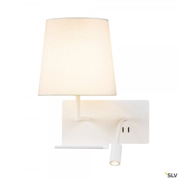 SLV 1003459 Somnila Flex, Wandleuchte, weiß, Schalter, links, E27 max.40W + LED, 3W, 3000K, 65lm