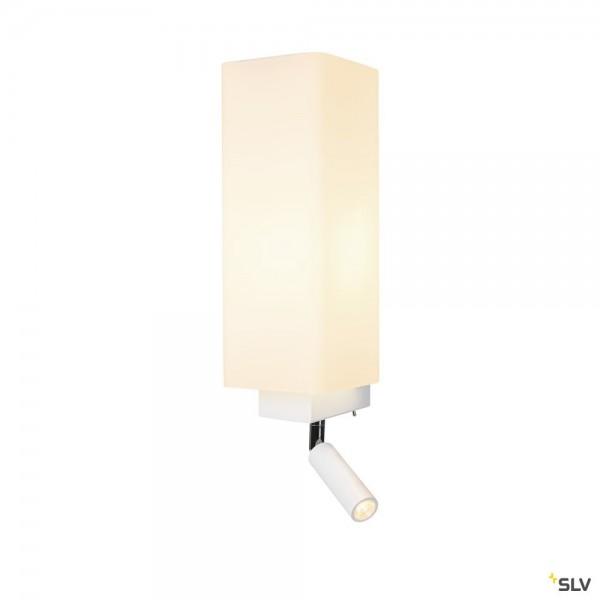 SLV 1003429 Quadrass Spot, Wandleuchte, weiß, Schalter, E27 max.40W + LED, 2W, 3000K, 200lm