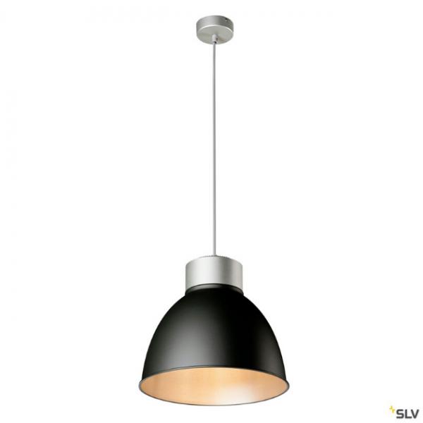 SLV 132605 + 1002055 + 1002056 Para Dome, Pendelleuchte, silbergrau/schwarz, E27, max.150W