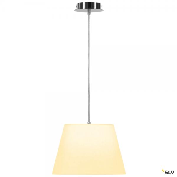 SLV 155562 + 156161 Fenda, Pendelleuchte, chrom/weiß, Ø30cm, E27, max.60W
