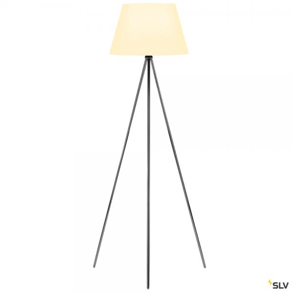 SLV 155492 + 156181 Fenda, Stehleuchte, chrom/weiß, Ø45,5cm, E27, max.40W