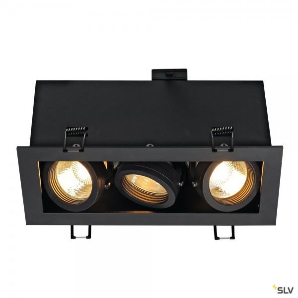 SLV 115530 Kadux 3, Deckeneinbauleuchte, schwarz matt, QPAR51, GU10, max.3x50W