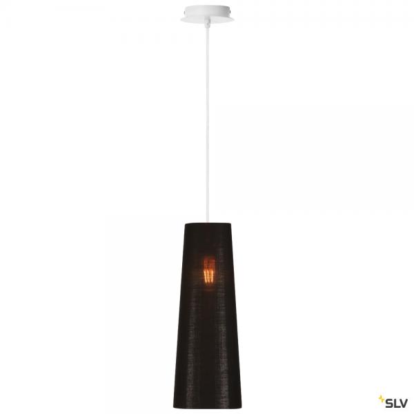 SLV 155561 + 156212 Fenda, Pendelleuchte, weiß/schwarz/kupfer, Ø15cm, E27, max.60W