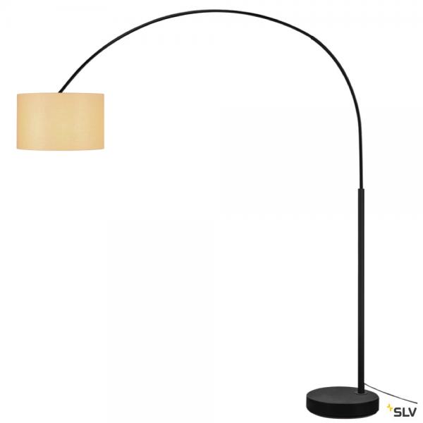 SLV 1003029 + 156113 Fenda Bow, Bogenleuchte, schwarz/beige, Ø45,5cm, E27, max.25W