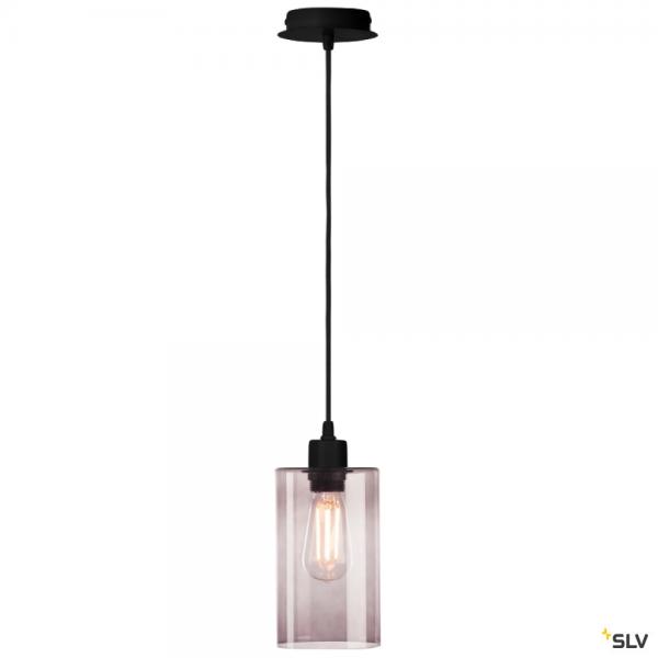 SLV 155560 + 1000773 Fenda, Pendelleuchte, schwarz/Rauchglas, E27, max.60W