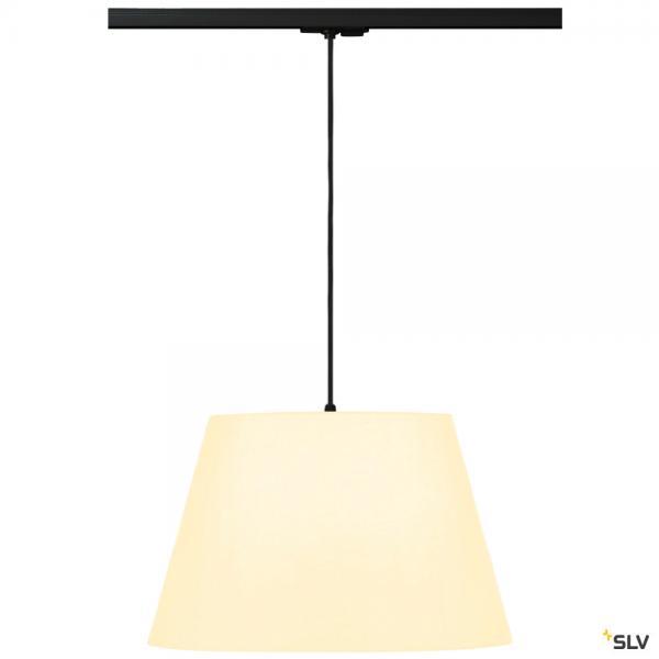SLV 143120 + 132660 + 156181 Fenda, 1 Phasen, Pendelleuchte, schwarz/weiß, Ø45,5cm, E27, max.60W