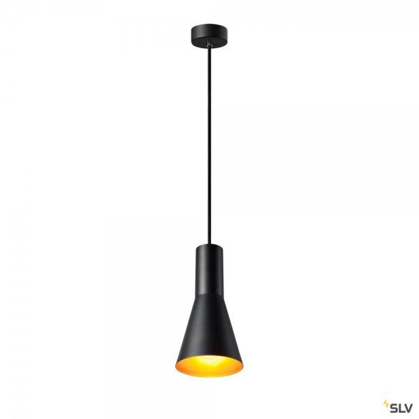 SLV 1002951 Phelia 130, Pendelleuchte, schwarz/gold, E27, max.23W