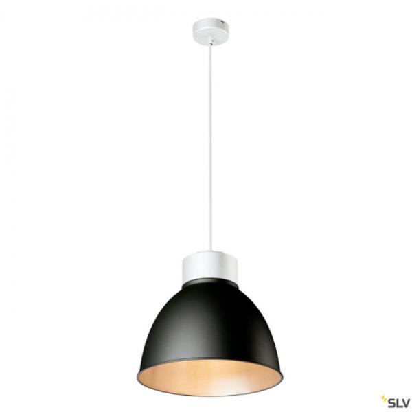SLV 132601 + 1002054 + 1002056 Para Dome, Pendelleuchte, weiß/schwarz, E27, max.150W