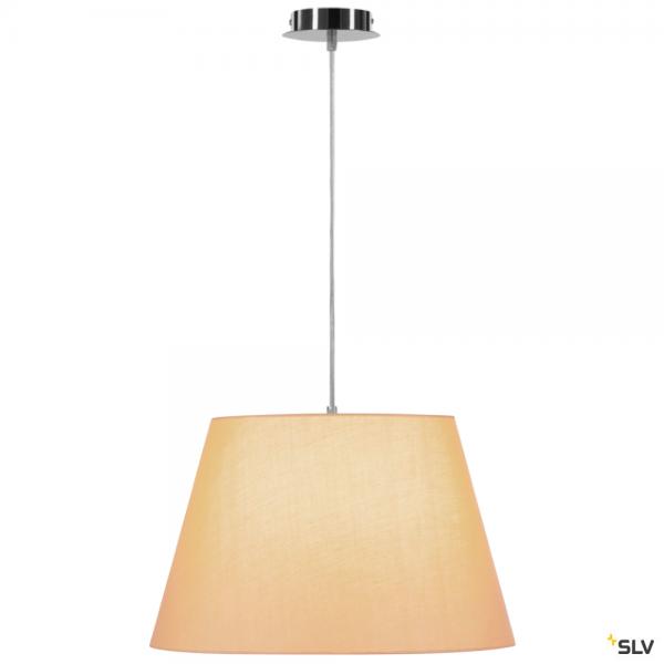 SLV 155562 + 156183 Fenda, Pendelleuchte, chrom/beige, Ø45,5cm, E27, max.60W