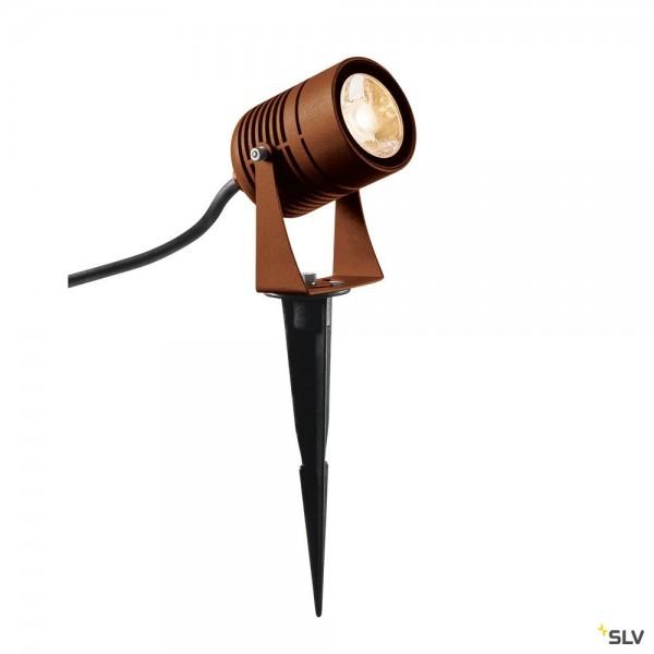 SLV 1002203 LED Spike, Edelstahl gebürstet, mit Netzstecker, IP55, LED, 6W, 3000K, 400lm