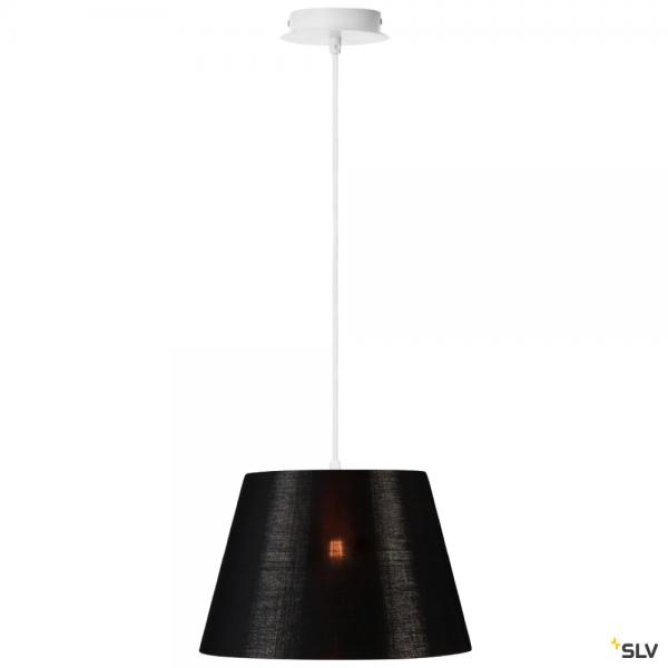 SLV 155561 + 156172 Fenda, Pendelleuchte, weiß/schwarz/kupfer, Ø30cm, E27, max.60W