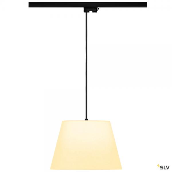SLV 145990 + 132660 + 156161 Fenda, 3Phasen, Pendelleuchte, schwarz/weiß, Ø30cm, E27, max.60W