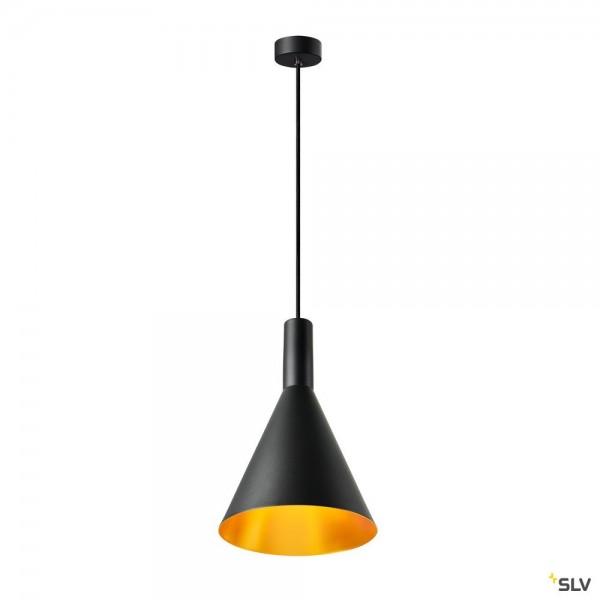 SLV 1002950 Phelia 280, Pendelleuchte, schwarz/gold, E27, max.23W