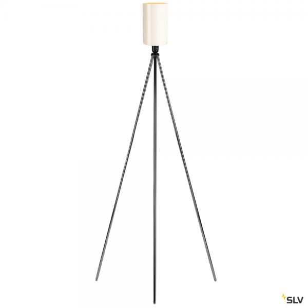 SLV 155492 + 1002217 Fenda, Stehleuchte, Glas, chrom/weiß, Ø15cm, E27, max.40W