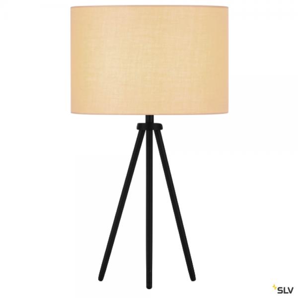 SLV 155540 + 155583 Fenda, Tischleuchte, schwarz/beige, Ø30cm, E27, max.40W