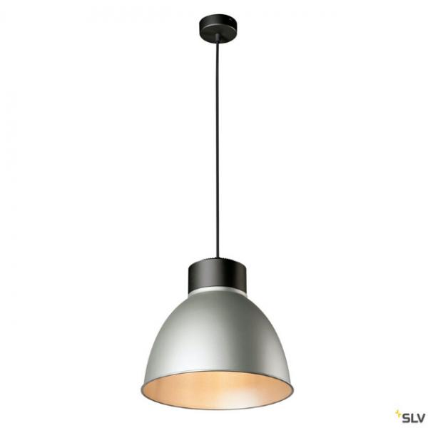SLV 132600 + 1002053 + 1002058 Para Dome, Pendelleuchte, schwarz/silbergrau, E27, max.150W