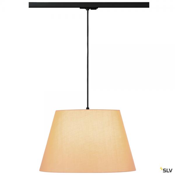 SLV 143120 + 132660 + 156183 Fenda, 1 Phasen, Pendelleuchte, schwarz/beige, Ø45,5cm, E27, max.60W