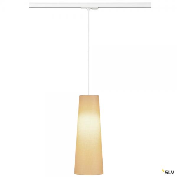 SLV 143121 + 132661 + 156203 Fenda, 1Phasen, Pendelleuchte, weiß/beige, Ø15cm, E27, max.60W