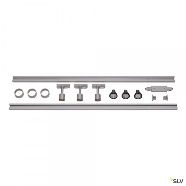 SLV 143194 Puri Set, 1 Phasen, Strahler, silbergrau, QPAR51, LED GU10, max.3x4W