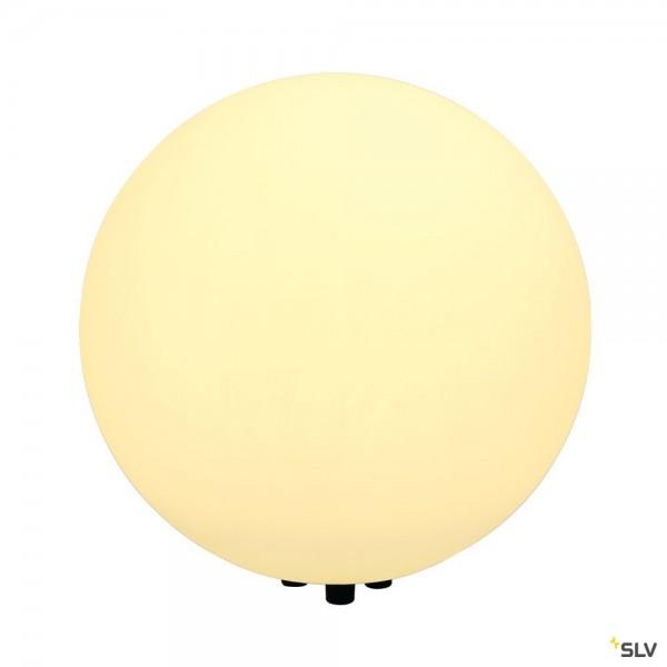 SLV 227221 Rotoball Floor 50, Standleuchte, silbergrau/weiß, mit Netzstecker, IP44, E27, max.24W