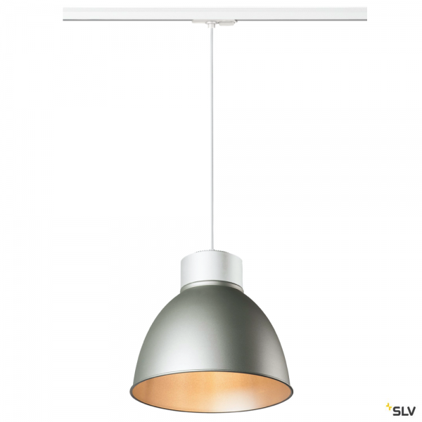 SLV 143121 + 1002054 + 1002058 Para Dome, 1 Phasen, Pendelleuchte, weiß/silbergrau, E27, max.150W