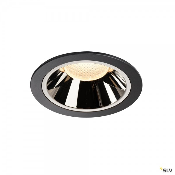 SLV 1004014 Numinos XL, Deckeneinbauleuchte, schwarz/chrom, LED, 37,4W, 3000K, 3500lm, 40°
