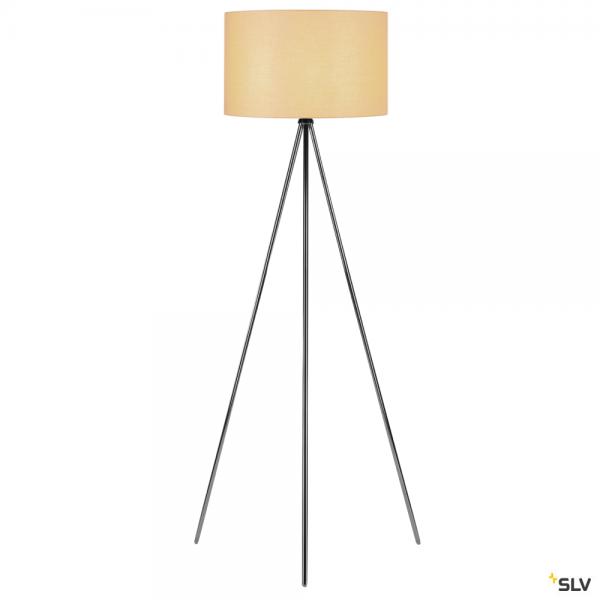 SLV 155492 + 156113 Fenda, Stehleuchte, chrom/beige, Ø45,5cm, E27, max.40W