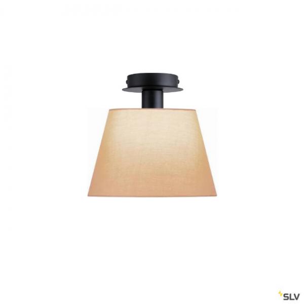 SLV 155550 + 156163 Fenda, Deckenleuchte, schwarz/beige, Ø30cm, E27, max.60W