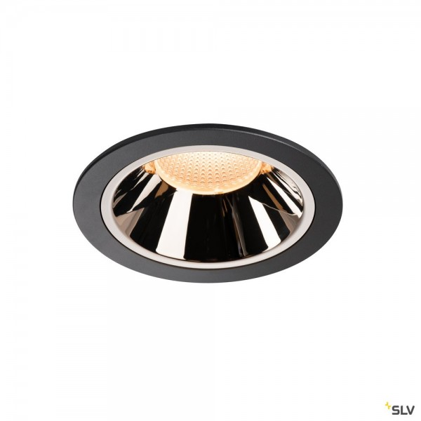 SLV 1003993 Numinos XL, Deckeneinbauleuchte, schwarz/chrom, LED, 37,4W, 2700K, 3400lm, 55°