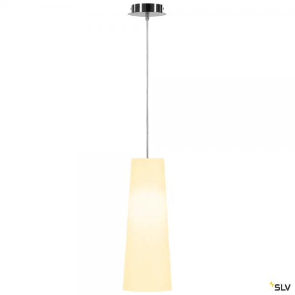 SLV 155562 + 156201 Fenda, Pendelleuchte, chrom/weiß, Ø15cm, E27, max.60W