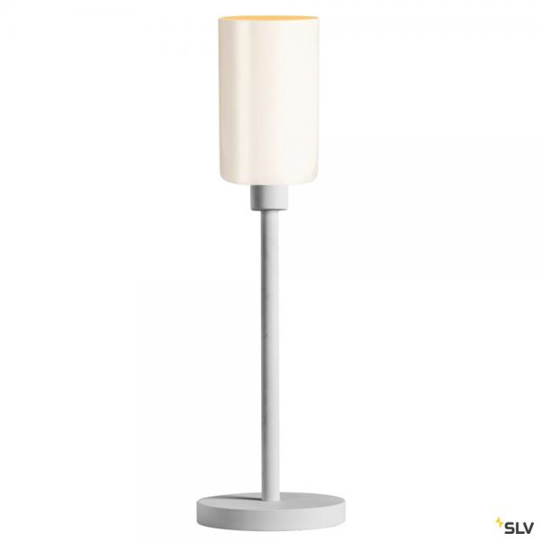 SLV 1003030 + 1002217 Fenda, Tischleuchte, Glas, weiß, Ø12,5cm, E27, max.60W