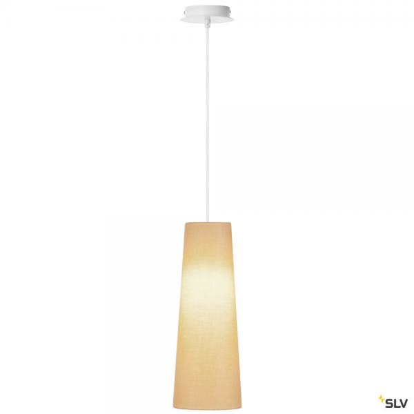 SLV 155561 + 156203 Fenda, Pendelleuchte, weiß/beige, Ø15cm, E27, max.60W