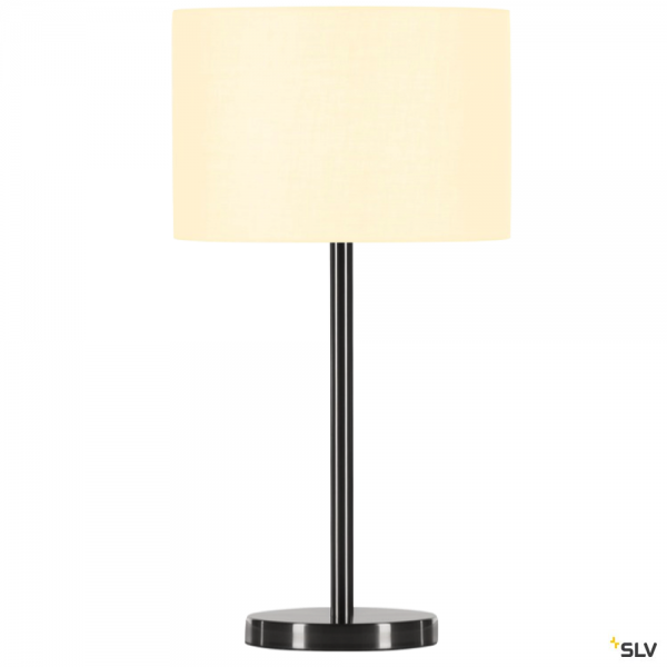 SLV 155785 + 155582 Fenda, Tischleuchte, metall gebürstet/weiß, Ø30cm, E27, max.40W