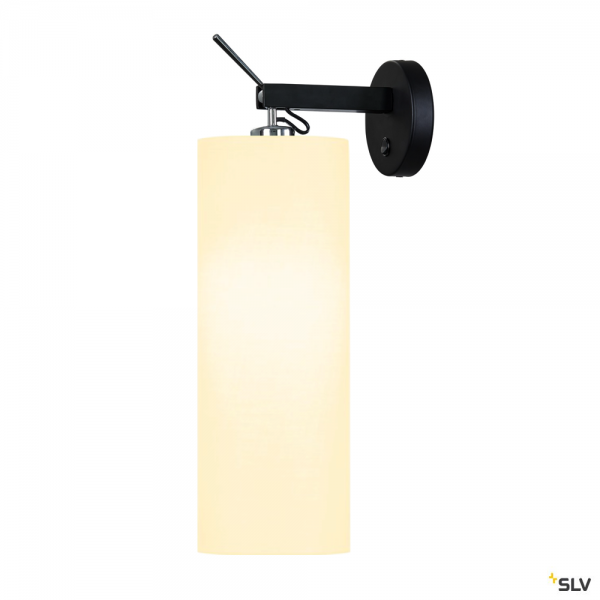SLV 1003034 + 156141 Fenda, Wandleuchte, mit Schalter, schwarz/weiß, E27, max.40W
