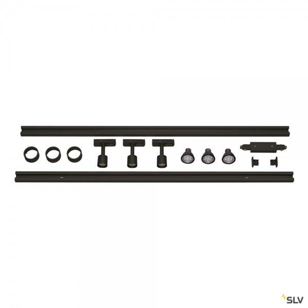 SLV 143190 Puri Set, 1 Phasen, Strahler, schwarz, QPAR51, LED GU10, max.3x4W