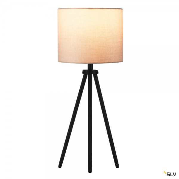 SLV 155540 + 1001454 Fenda, Tischleuchte, schwarz/beige, Ø20cm, E27, max.40W