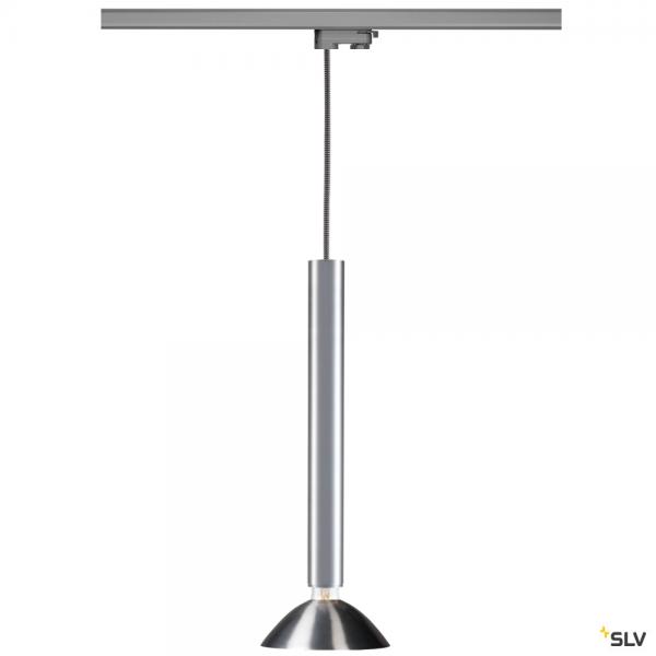 SLV 145994 + 1002161 + 1001960 Fitu, 3 Phasen, Pendelleuchte, silbergrau/aluminium, E27, max.10W
