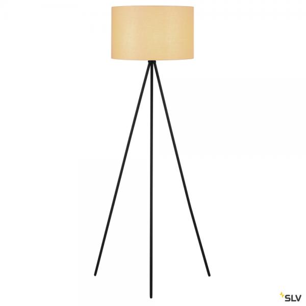 SLV 155490 + 156113 Fenda, Stehleuchte, schwarz/beige, Ø45,5cm, E27, max.40W